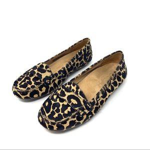 VIONIC 6 Larrun Leopard Loafer Flat Calf Hair